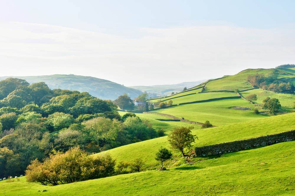 Rolling English countryside around a farm in the English Lake District National Park, Cumbria