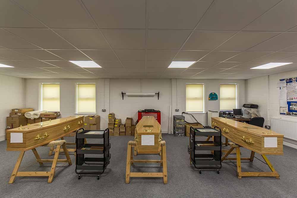 coffins in the workshop