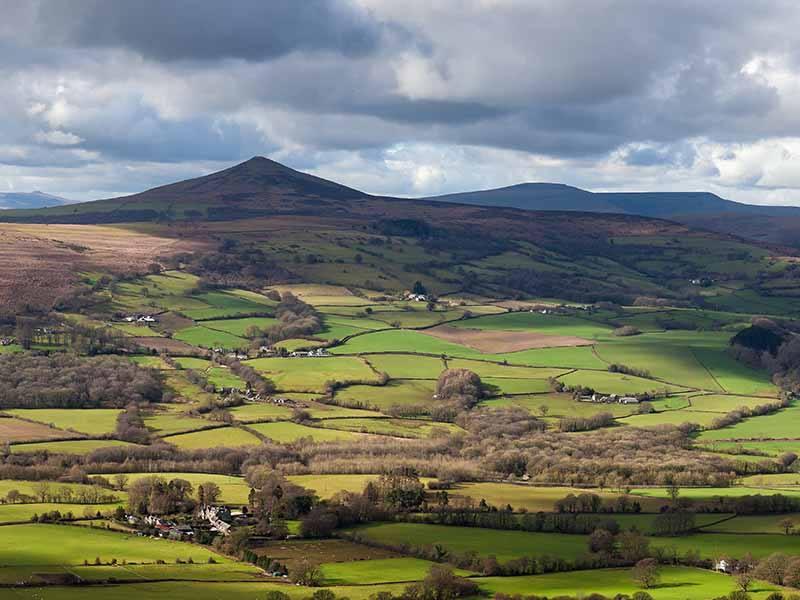sugar loaf mountain landscape in Abergavenny