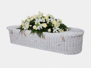 Curved End Painted White Willow Coffin