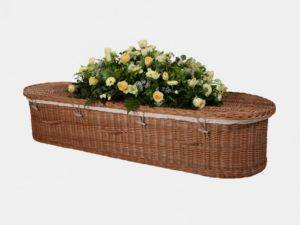 Curved End Willow Coffin with Buff Handles