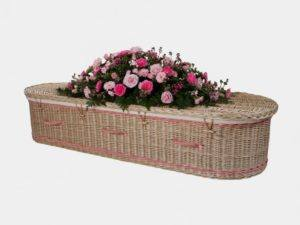 Curved End Willow Coffin with Pink Bands