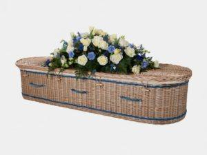 Curved End Willow Coffin with Royal Blue Bands