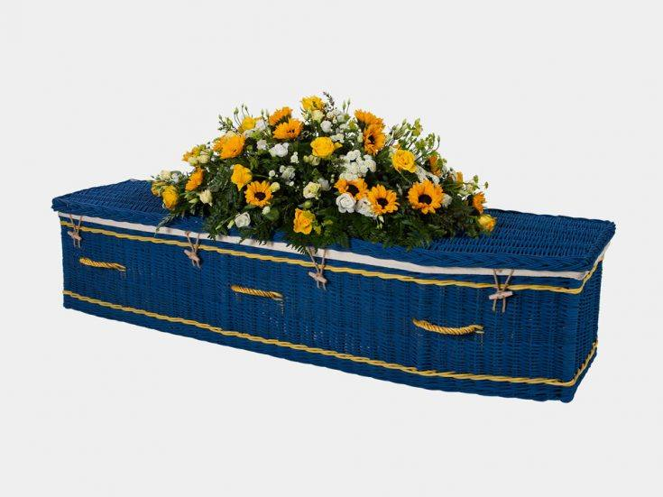 Traditional Painted Blue Willow Coffin