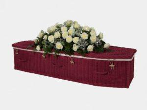 Traditional Painted Burgundy Willow Coffin