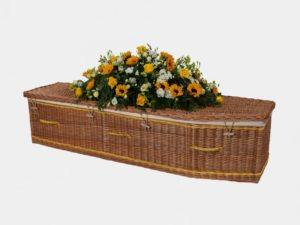 Traditional Willow Coffin with Yellow Bands